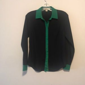 Michael kors black with green button blouse sz xs